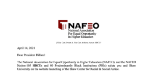 National Association for Equal Opportunity in HIgher Education - Baskerville Letter to Dr. Paulette Dillard on the Launching of Shaw Center on Racial and Economic Justice